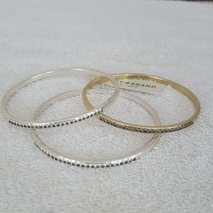 New Lucky Brand Two Tone Pave Bangle Bracelets